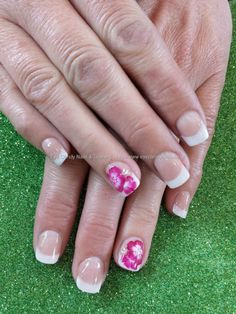 White french polish with one stroke flower nail art Taken at:5/23/2014 4:08:44 PM Uploaded at:5/24/2014 7:55:48 PM Technician:Elaine Moore