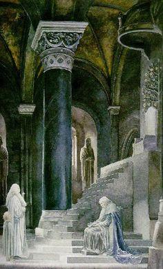 Pippin y Mitharnir se reúnen con el Senescal Denethor -  Dibujo de Alan Lee.