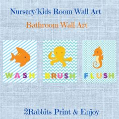 #Wash #Brush #Flush 3 Nursery/kids wall arts. Great idea to use them at your kids bathroom. by 2RabbitsPrintEnjoy on Etsy