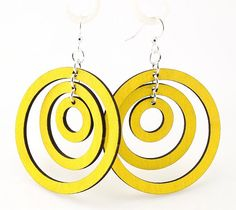 MADE IN USA Three perfect circles hanging inside each other    Size: 2 round    These triple hoop earrings are laser cut and made from a very