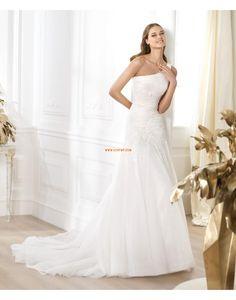 1-Schulter Applikation Reißverschluss Brautkleider 2014