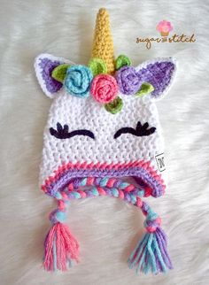 Indie Rose, Crochet Unicorn Outfit, Matching Diaper Cover and Booties Set, Baby Unicorn Set, Newborn Photo Prop Set - Products - Crochet Unicorn Hat, Crochet Animal Hats, Crochet Kids Hats, Crochet Beanie, Crochet Gifts, Knitted Hats, Knit Crochet, Girl Crochet Hat, Booties Crochet