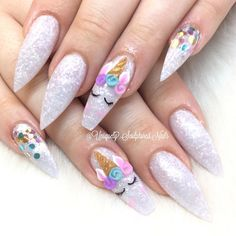 Nail art Christmas - the festive spirit on the nails. Over 70 creative ideas and tutorials - My Nails Bling Nails, 3d Nails, Cute Nails, Pretty Nails, Acrylic Nails, Unicorn Nails Designs, Unicorn Nail Art, Perfect Nails, Gorgeous Nails