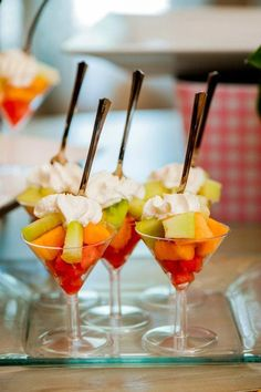 Fruit salad in martini glasses. Cute! This is so happening at my Wedding/ Bridal Shower