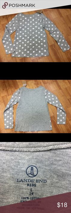 Lands End Gray Heather Metallic Dots Top NEW NWT L Lands End Gray Heather Metallic Dots Top NEW NWT L 14  Super cute knit top with a wide neck.  Size is large or 14.  New with tags.  #polkadot #gray #heather #metallic #polkadots #dots #silver #grey #top #new #nwt #landsend Lands' End Shirts & Tops Tees - Long Sleeve