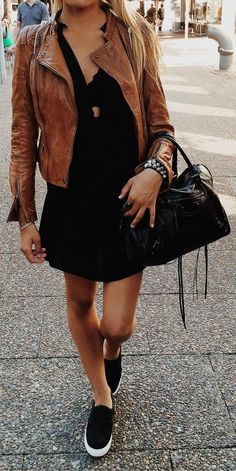 Cute street style look - camel moto, black dress and bag. Latest fall fashion trends.