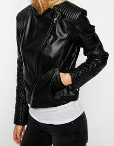 Enlarge ASOS Leather Asymmetric Mixed Quilted Biker