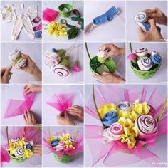 How to DIY Baby Clothes Flower Bouquet I have featured quite a few fabric flowers projects on my site, but this one is definitely a special one. It is a baby clothes flower bouquet in a cute basket! What a sweet baby gift idea! It looks so beautiful… Baby Gifts To Make, Diy Gifts, Cute Baby Gifts, Unique Baby Shower Gifts, Used Baby Clothes, Diy Clothes, Baby Bouquet, Rose Bouquet, Baby Shower Bouquet