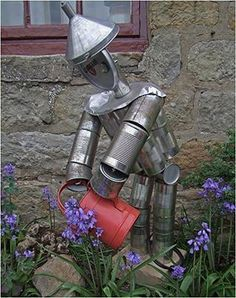 Garden Sculptures: Tin man or Scare Crow???  A must build for our kids garden!