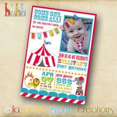 Photo Birthday Invitation - Circus Celebration via Etsy