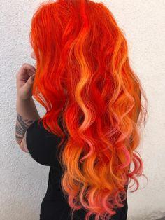 Vivid Hair Color, Hair Dye Colors, Hair Color Dark, Ombre Hair Color, Cool Hair Color, Flame Hair, Coloured Hair, Dye My Hair, Grunge Hair