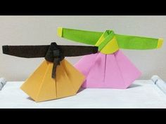 Origami -Korean dress, Hanbok / 종이접기 - 한복 (치마와 저고리)