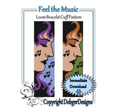 Bead Pattern Loom(Bracelet Cuff)-Feel the Music