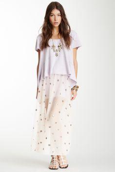 Sequin Polka Dot Mesh Slip Skirt