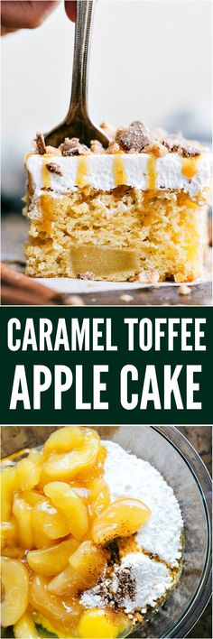 Caramel Toffee Apple Cake is a tender and moist cake with apples baked right inside! Topped with cool whip topping toffee bits and drizzled in caramel, this will become a new favorite! Apple Desserts, Sweet Desserts, Apple Recipes, Just Desserts, Sweet Recipes, Baking Recipes, Delicious Desserts, Snack Recipes, Dessert Recipes