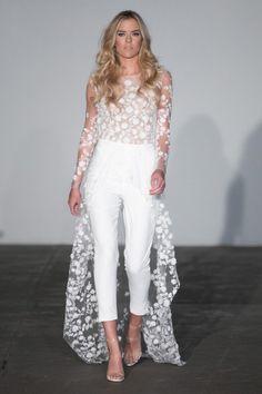 30 Stunning Long Sleeve Wedding Dresses - Bridal Musings Rime Arodaky pantsuit