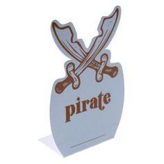 Marque place pirate bleu ciel en carton - Marque place chevalet en forme de coffre aux trésors, déco de table, fêtes. http://www.baiskadreams.com/2922-marque-place-pirate-bleu-ciel-les-6.html