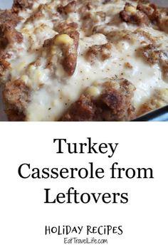 Got left over turkey from the holidays? You can make a simple and easy turkey casserole from leftovers. You just need a few ingredients from your holiday meal to make this dish. #turkeyrecipes #leftovermeals #turkeycasserole #easycasserolerecipes Dinner Recipes Easy Quick, Great Recipes, Easy Meals, Favorite Recipes, Amazing Recipes, Yummy Recipes, Leftovers Recipes, Turkey Recipes, Thanksgiving Recipes