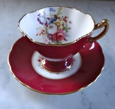 Vintage bone china Hammersley & Co.Teacup and saucer set, burgundy and floral bouquet hand numbered, made in England Party Set, Tea Party, Tea Cup Saucer, Cup And Saucer Set, Vintage Dishes, Vintage Teacups, Vintage China, Teapots And Cups, China Tea Cups