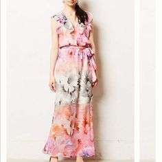 Anthropologie HD in Paris spring floral maxi dress Anthropologie HD in Paris spring floral maxi dress- comes with belt. Easy pullover styling. Never worn. No flaws. Sold out everywhere! Perfect for spring! Anthropologie Dresses Maxi