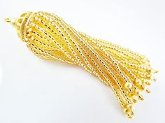 Long Golden Beaded Tassel  22k Matte Gold Plated by LylaSupplies, $10.00