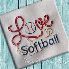 LOVE Softball Machine Embroidery Design Digital Applique Pattern INSTANT DOWNLOAD Baseball Sports Athletic Team Spirit Cheer Girl Boy by PersonalLife on Etsy