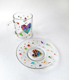 Rainbow heart tea cup set Valentines day gift Personalized Handpainted glass coffee cup & saucer Heart kitchen decor This is a bright glass tea cup set with hand painted funny rainbow heart of colored bubbles is the perfect Valentines day gift. When this mug is empty it can be a cute, bright