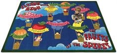 The Fruits of the Spirit Carpet will be a great addition to your church, preschool or Sunday School Classroom. Teaching students that the Holy Spirit lives within themselves. #faithbasedrugs  http://www.sensoryedge.com/fruits-spirit-classroom-carpet.html