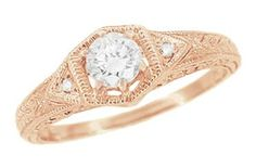 Art Deco White Sapphire Filigree Engraved Engagement Ring in 14 Karat Rose ( Pink ) Gold
