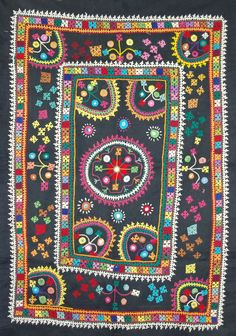 Fun, colourful Gujarati Chakla for wall or great to be made into a cushion cover. Edges need seaming  86cm x58cm http://worldbasket.co.uk/product-category/antique-and-vintage-textiles/