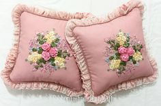 Embroidered Cushions, Ribbon Embroidery, Cushion Covers, Victorian, Throw Pillows, Studio, Fabrics, Crochet Throw Pattern, Hand Embroidery