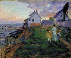John Sloan >> Evening, Rocky Neck     (Oil, artwork, reproduction, copy, painting).