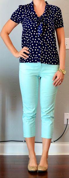 Navy polka dot tie-neck blouse - F21, Mint cropped pants - Loft, Nude flats - TJMaxx
