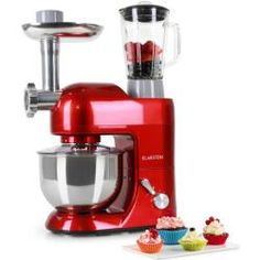 KLARSTEIN Lucia Rossa Food Processor • Stand Mixer • Mixing Machine • 650 Watts • 53 qt. Bowl • qt. Mixing Glass • With Meat Mincer and Mixer Attachements • Adjustable Speed Kitchen Machine, Red Kitchen, Kitchen Aid Mixer, Kitchen Dining, Red Appliances, Specialty Appliances, Milk Shakes, Penne, Aide Ménagère