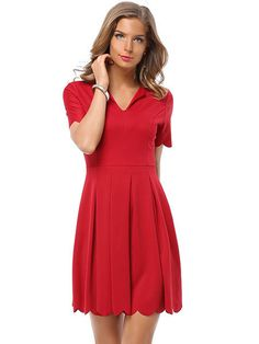 Casual Women Deep V-Neck Pleated Ruffle Short Sleeve Mini Dress