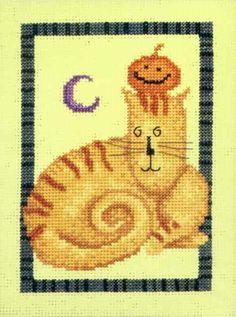 Stitched Area of Tabby Tricks Beaded Cross Stitch Kit Mill Hill - Debbie Mumm - $13.99