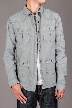 Multi stitch pocket on lightweight cotton jacket