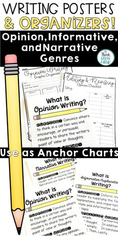 These writing genre posters are the perfect anchor charts to use for your writing bulletin board. They are common core aligned and work perfectly along side any writer's workshop program. It includes writing posters, writing graphic organizers, and student writing checklists for the three types of writing used in elementary classrooms and the common core: Personal Narratives, Opinion/Persuasive, and Informational Non Fiction pieces. Click to see more!