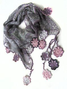 Chiffon scarf / Crochet Flowers scarf.. by SEVILSBAZAAR on Etsy