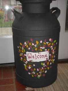 An old metal milk can made new!!