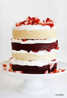Using box mix helps make this stunning Red Velvet Strawberry Shortcake layer cake a fast and easy treat.