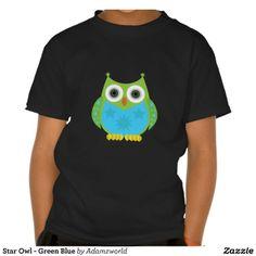 Star Owl - Green Blue Tee Shirts