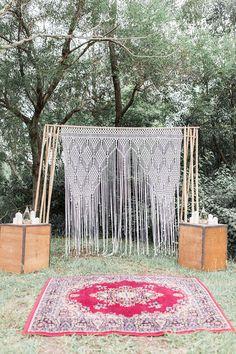 Boho wedding ceremony with macrame backdrop | Mallory Sparkles Photography