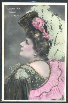 PG152-ARTIST-STAGE-STAR-Valentine-PAGE-Large-FEATHER-HAT-Tinted-PHOTO-pc-OGEREAU
