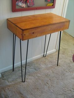 Shipping Crate TABLE Old Dovetail Wooden Box OLD Websters Mammoth Packet Seeds Nice advertising with vintage hair pin legs Midcentury. $350.00, via Etsy.