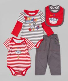 Another great find on #zulily! Red & Gray 'Monkey Business' Bodysuit Set - Infant by Duck Duck Goose #zulilyfinds