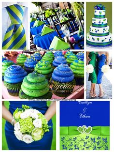 Royal blue and lime green wedding color scheme...