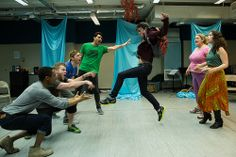 """Matt Doyle and Andi Alhadeff in rehearsal for """"Jasper in Deadland"""" off-broadway 2011 at Prospect Theatre."""