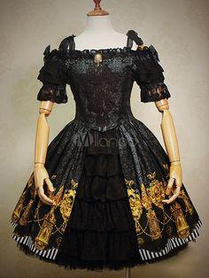 Gothic Lolita Dress preto arco impresso babados do Jacquard Gothic Lolita terno de vestido com laço bordado - Milanoo.com