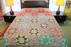 Vintage-Hand-Sewn-All-Cotton-VARIABLE-STAR-Quilt-TOP-86-034-x-76-034-Good-Condition